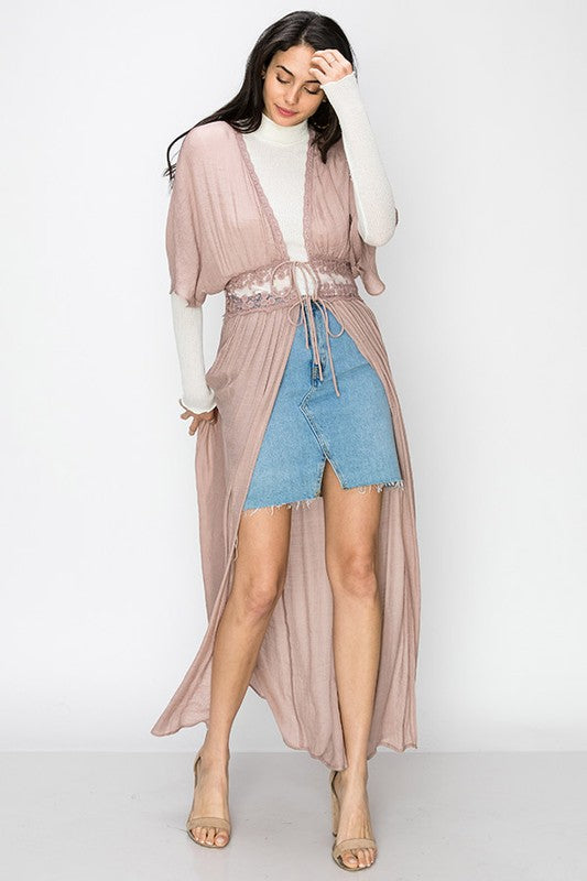 lace panelled waistband short sleeve duster cardigan