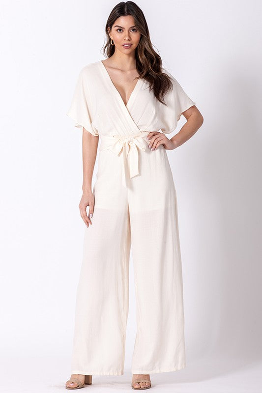 flutter sleeve surplice jumpsuit