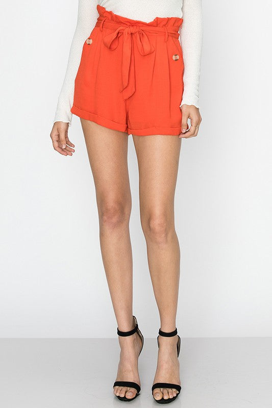 high waist shorts with sash belt