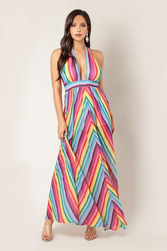 Halter Neck Rainbow Maxi Dress