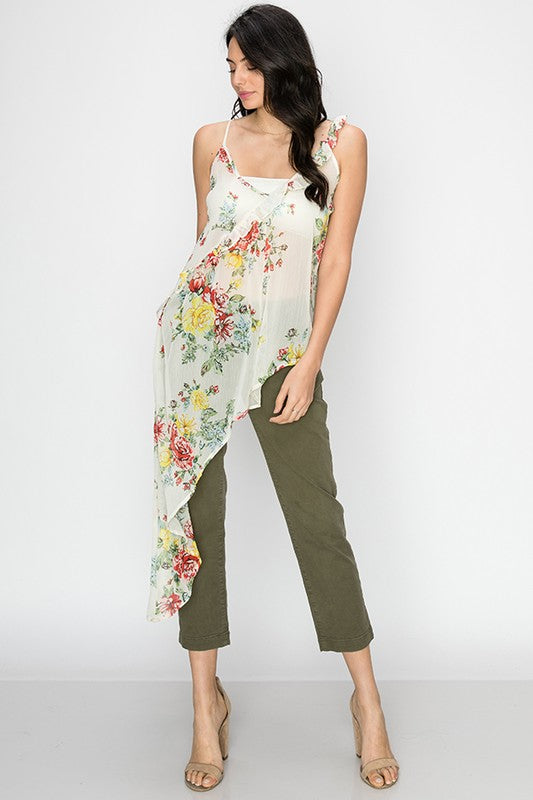 Floral asymmetrical cami top