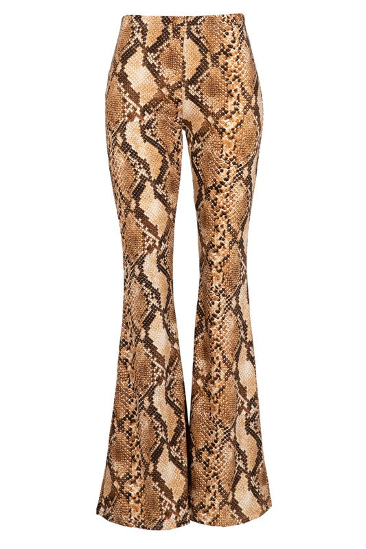 snakeskin brushed knit bell bottom pants