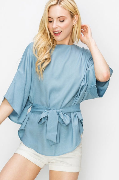short sleeve boxy top with waist tie - by Favlux - available at rkcollections.myshopify.com - Light Blue / LARGE - Tops-Woven