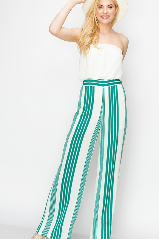 strapless jumpsuit with stripe pants