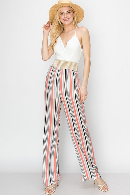 solid v-neck jumpsuit with stripe pants crochet waist