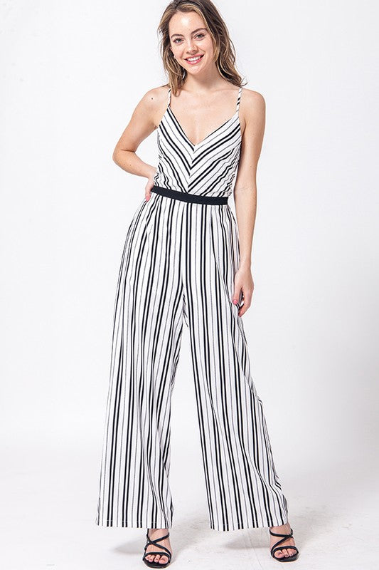 open back stripe v neck jumpsuit with cross back straps