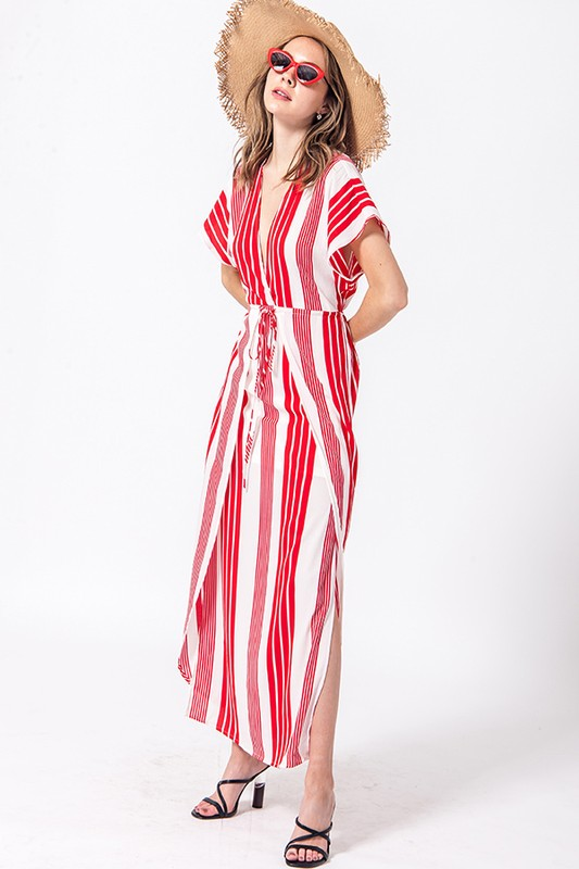 stripe maxi dress with drawstring waist