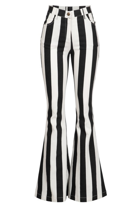 Bold vertical stripe bell bottom jeans