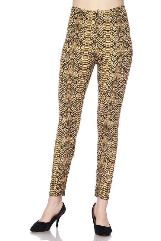 L003-2NE1-Snake Skin Print Brushed Leggings-RK Collections Boutique