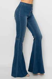 Fringe Hem Bell Bottom Denim Jeans