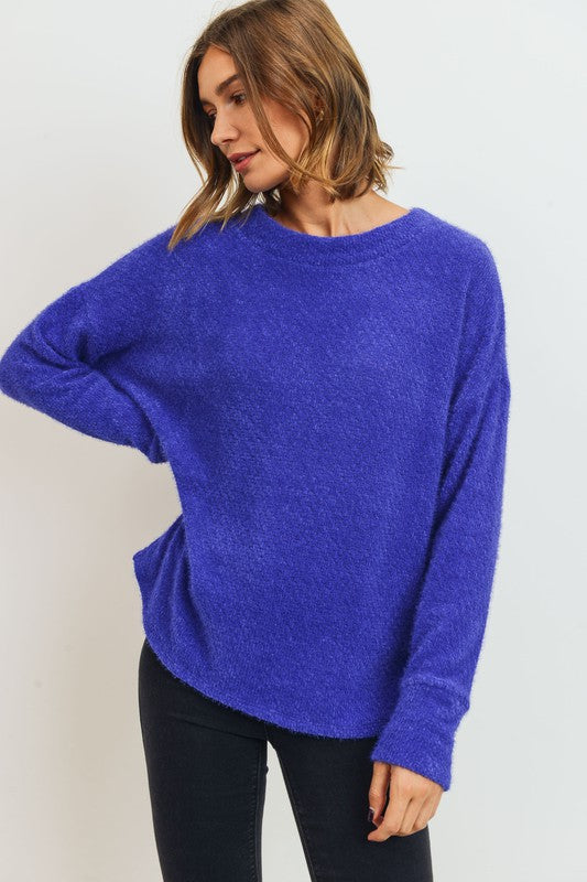 T21728-R-S-Cherish USA-Brushed Eyelash Knit Cherish Soft Sweater Top-RK Collections Boutique