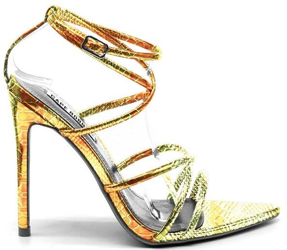 Mermaid snake strappy high heel sandal