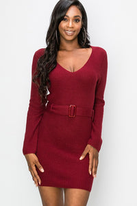 FL19H029-S-Favlux-deep v-neck sweater dress with belt-RK Collections Boutique