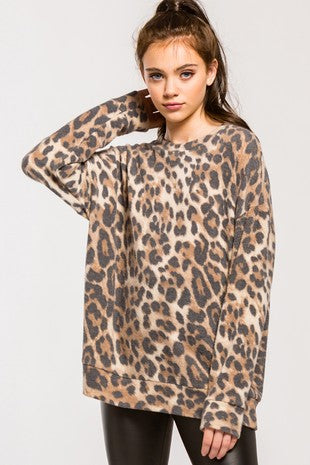 Leopard Long Sleeve Brush Knit