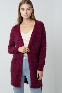 W9009-R-S-Love Tree-Popcorn Eyelash Open Front Long Line Cardigan-RK Collections Boutique