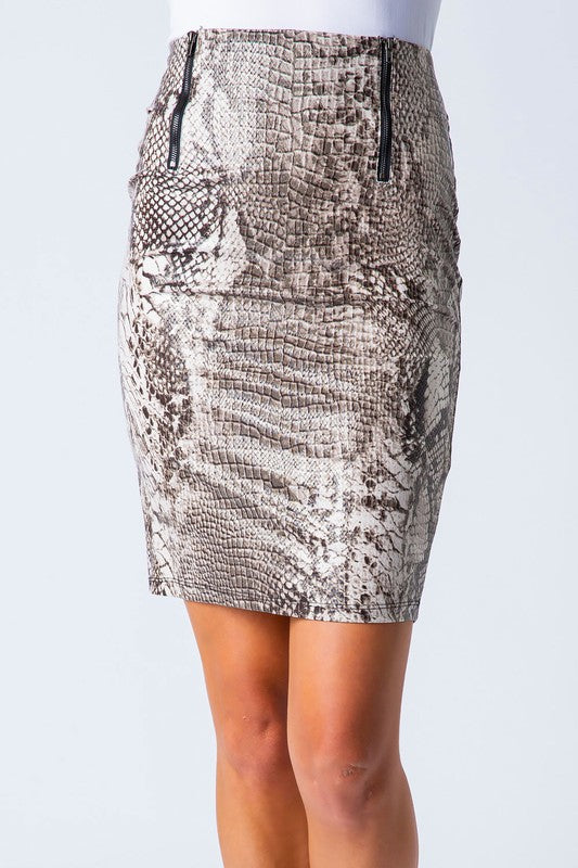 snake print double zipper pencil skirt - by Love In - available at rkcollections.myshopify.com -  - Skirts