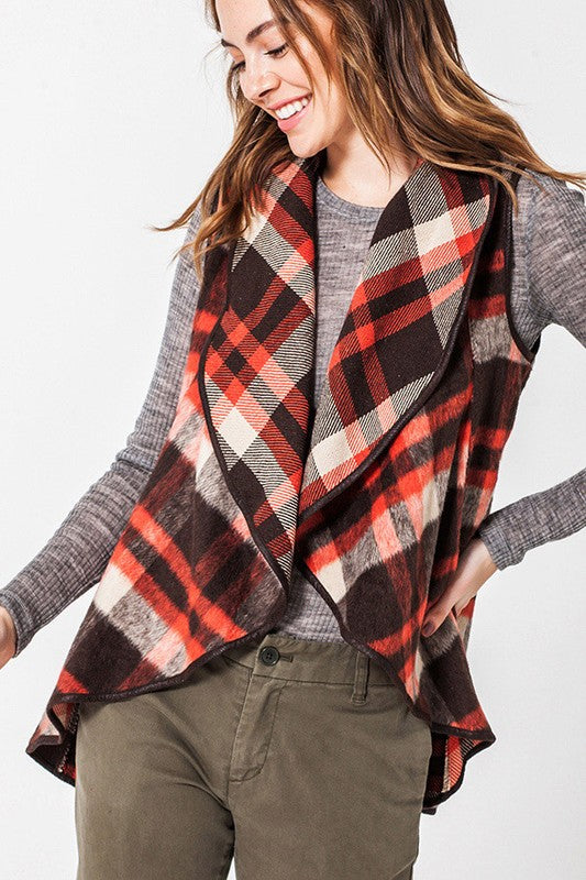 Bufflo plaid shawl collar vest