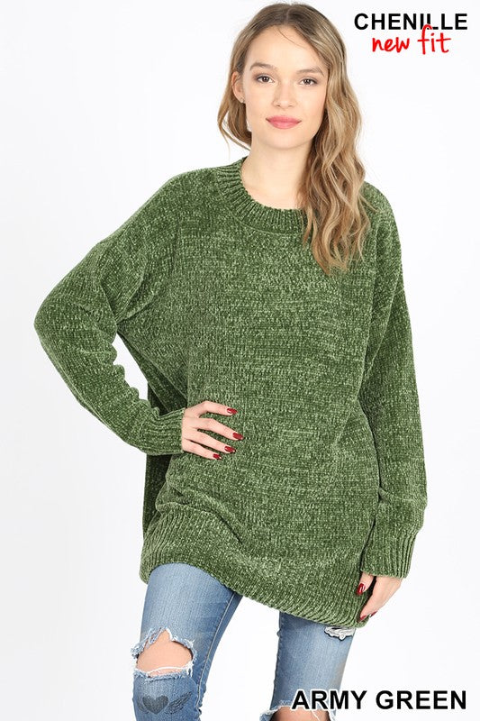 TW-1949-1-Zenana-chenille round neck sweater-RK Collections Boutique