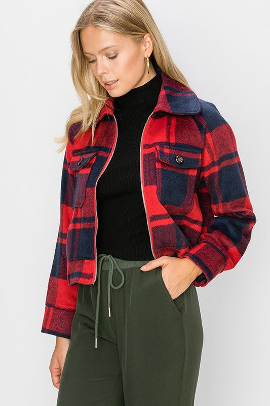 -Favlux-plaid zip up jacket-RK Collections Boutique