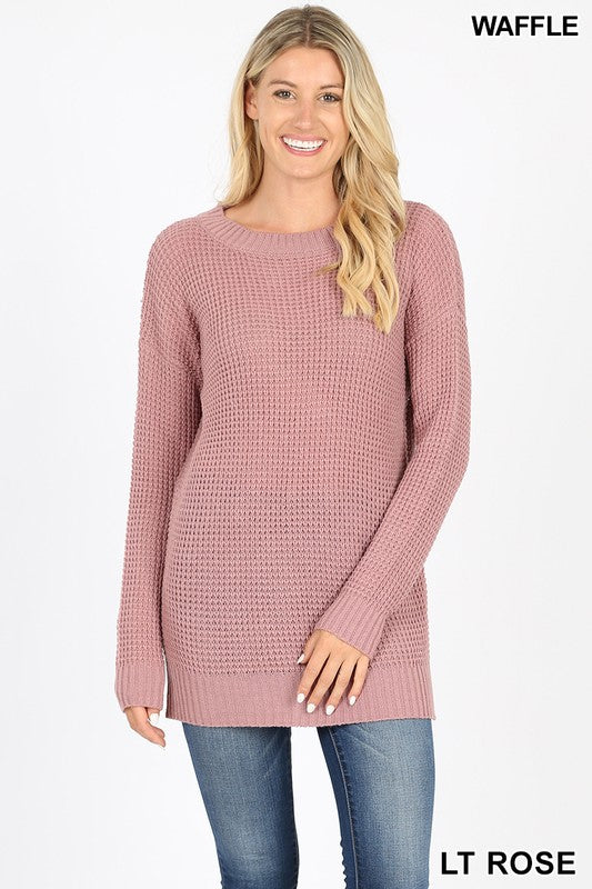 Waffle knit round neck long sleeve sweater