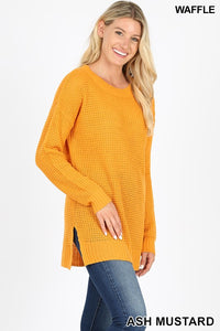 -Zenana-Waffle knit round neck long sleeve sweater-RK Collections Boutique