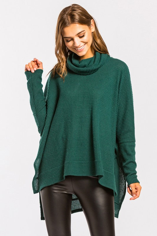 Brushed Thermal Turtleneck Boxy Top - by Cherish USA - available at rkcollections.myshopify.com - Hunter Green / LARGE - Tops-Brushed