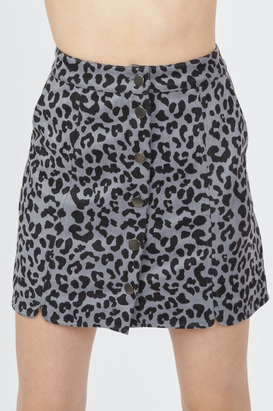 Faux suede leopard button down skirt