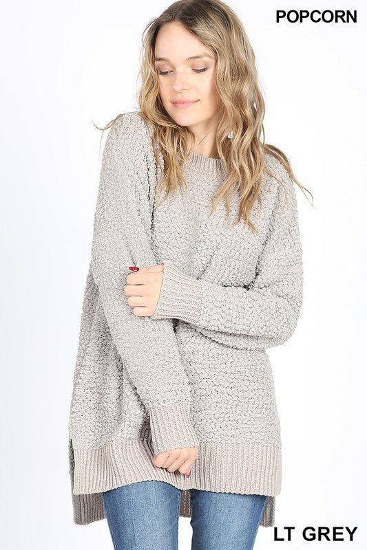 Popcorn long sleeve round neck sweater - by Zenana - available at rkcollections.myshopify.com -  - Tops-Sweater