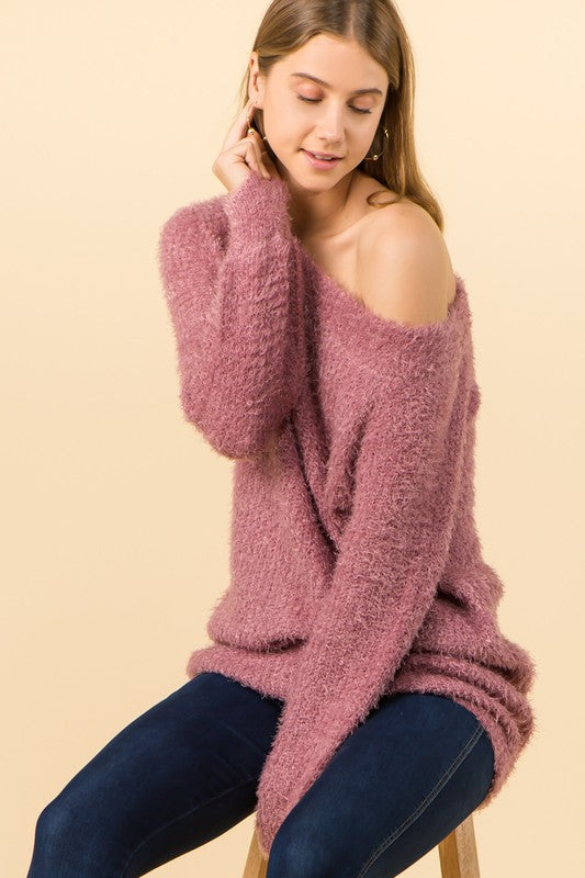 off the shoulder soft cozy eyelash sweater
