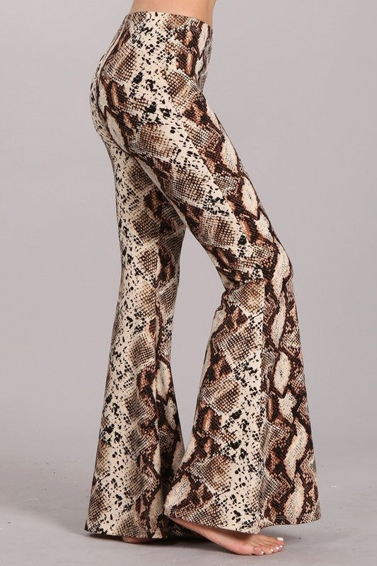 C30428-26-S-Chatoyant-Snakeskin print bell bottoms-RK Collections Boutique