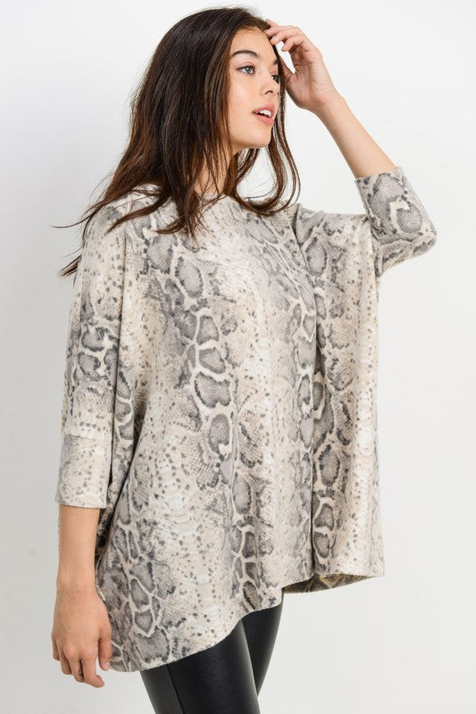 Brushed snakeskin print boxy top