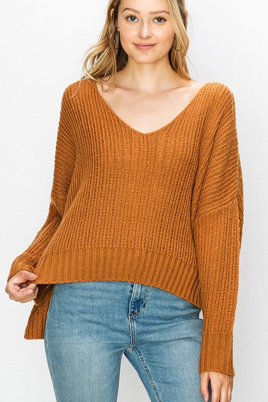 v-neck sweater - by Favlux - available at rkcollections.myshopify.com - Cognac / LARGE - Tops-Sweater