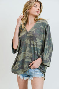 Camo 3/4 sleeve boxy v-neck top