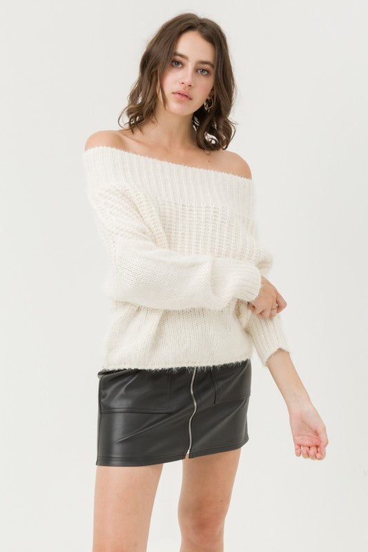 Super Soft Off Shoulder Sweater Top - by Love Tree - available at rkcollections.myshopify.com -  - Tops-Sweater
