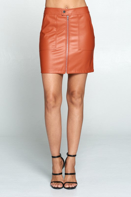 faux leather zip front mini skirt