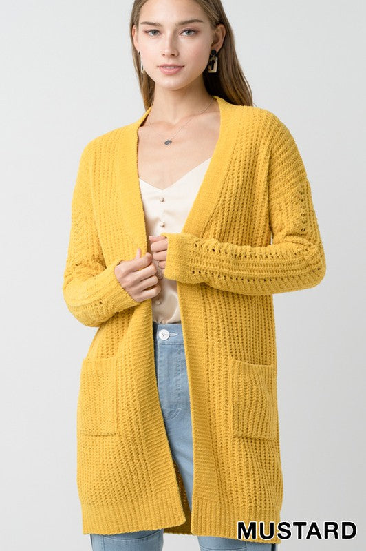 Chenille Open Front Long Line Knitted Cardigan