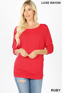 AT-5574P-5-Zenana-luxe rayon dolman 3/4 sleeve top-RK Collections Boutique