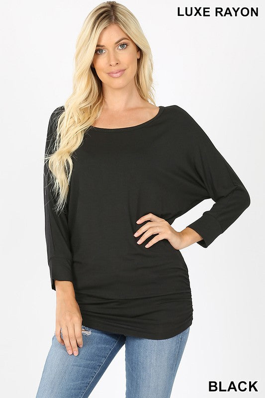 luxe rayon dolman 3/4 sleeve top