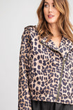 -Easel-Leopard faux suede moto jacket-RK Collections Boutique