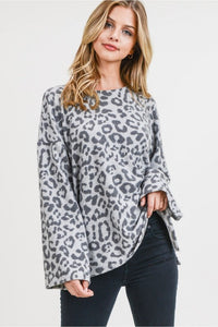 -Cotton Bleu-Brushed bell sleeve leopard top-RK Collections Boutique