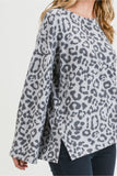 Brushed bell sleeve leopard top