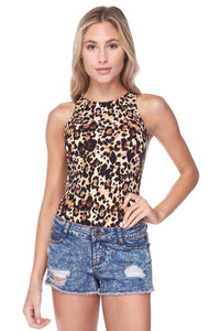 Mock neck leopard sleeveless bodysuit