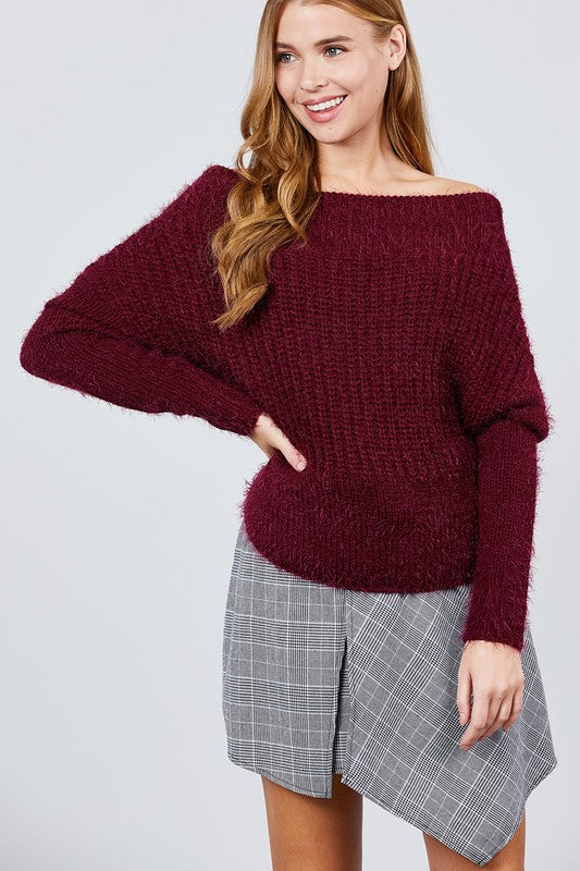 SW10743-B-S-Active Basic-off the shoulder sweater-RK Collections Boutique