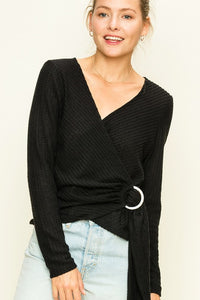 HF20C979-B-S-HyFve-waffle knit wrap top-RK Collections Boutique