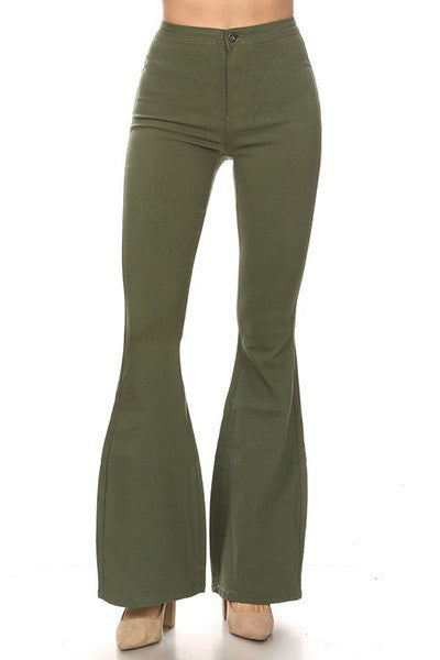 GP2610-O-1-JC & JQ-High waist super stretch bell bottom pants-RK Collections Boutique
