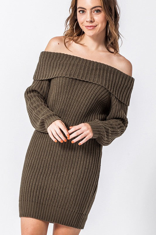 FL19H668-O-S-Favlux-Off the shoulder sweater dress-RK Collections Boutique