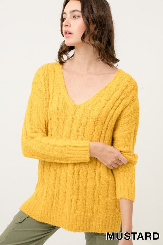 Oversized V Neck Cable Knitted Sweater Top - by Love Tree - available at rkcollections.myshopify.com - Mustard / LARGE - Tops-Sweater