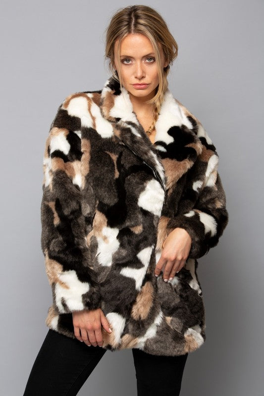 Camouflage faux fur coat