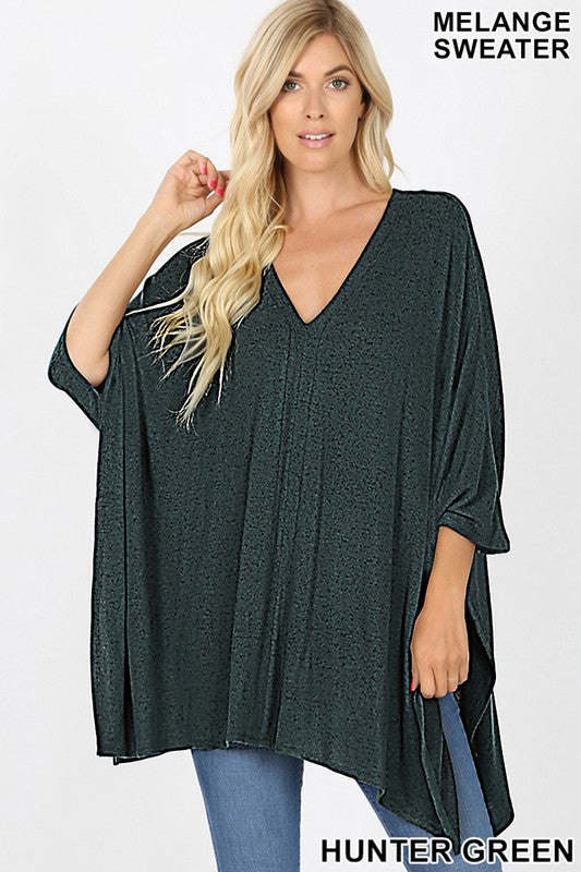 HT-2464AB-25-Zenana-Oversize v-neck poncho top-RK Collections Boutique