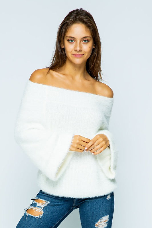 Off the shoulder fuzzy wide sleeve short sweater